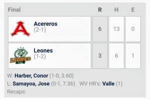 Resumen del juego 3 de la Serie del Rey Leones de Yucatán contra Acereros de Monclova