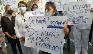 Protestan por falta de agua y equipo médico en hospital de Tacuba