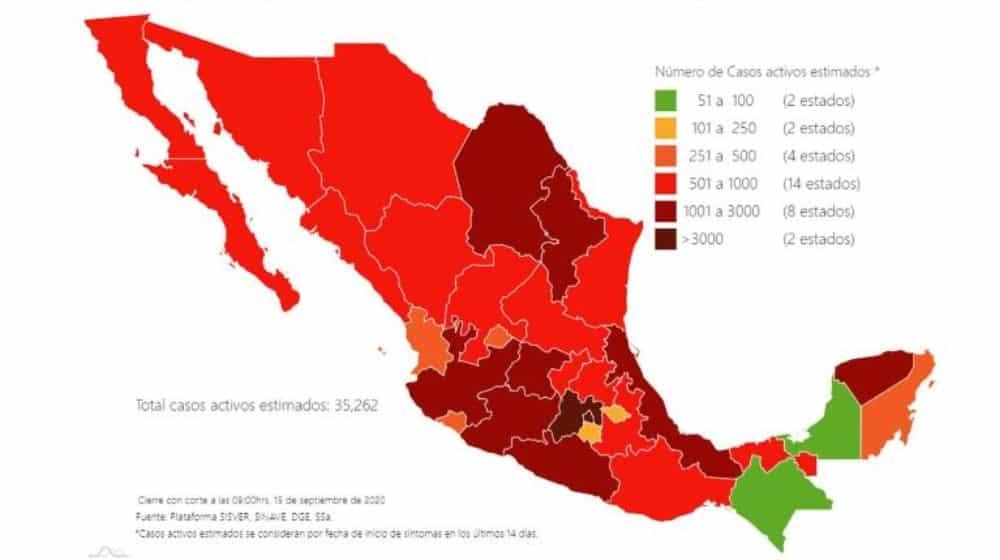 coronavirus en México al 15 de septiembre