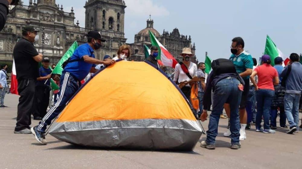 Campamento de FRENA en el Zócalo
