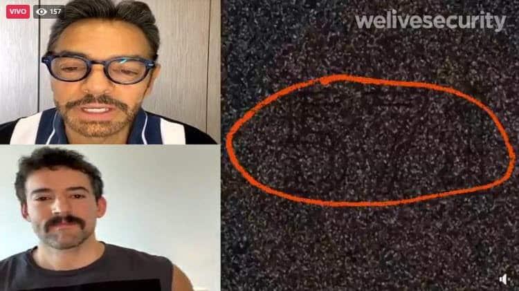 """Estafas en Facebook Live. Imagen 1: Una reproducción en vivo engañosa. A la izquierda, un video real del comediante mexicano Eugenio Derbez. A la derecha, un """"acertijo visual"""""""