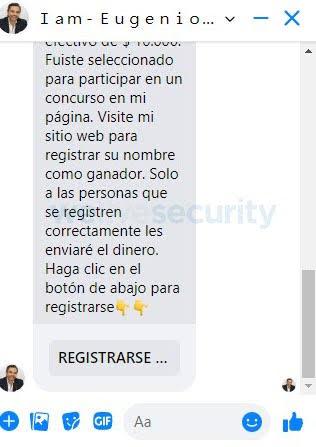 """Estafas en Facebook Live. Imagen 2: Ejemplos de mensajes que llegan a la víctima luego de enviar su respuesta. El mensaje inicial invita a compartir el engaño, luego invita a ingresar a la opción """"Registrarse"""" que lleva a un sitio apócrifo donde se solicita ingresar los datos de la tarjeta."""