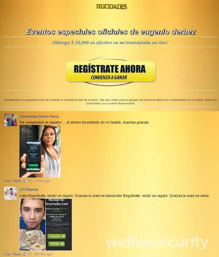 Estafas en Facebook Live. Imagen 3: Sitio .blogspot que redirige al supuesto registro, con comentarios falsos de previos usuarios.