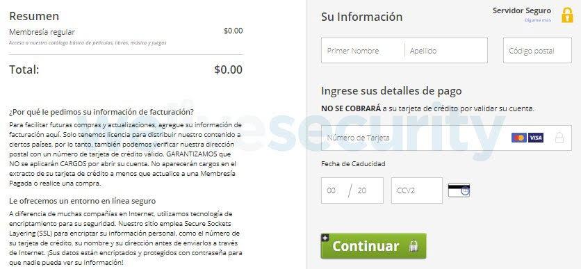 Imagen 4: Instancia en la que se solicita a la víctima a entregar los datos de la tarjeta de crédito.