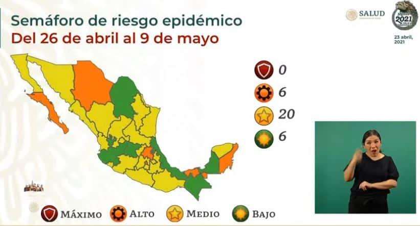 semáforo de COVID-19 del 26 de abril al 9 de mayo